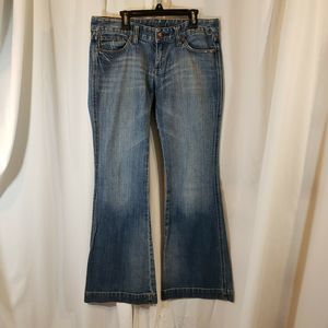 Express 6 x32 jean flare low rise distressed stret